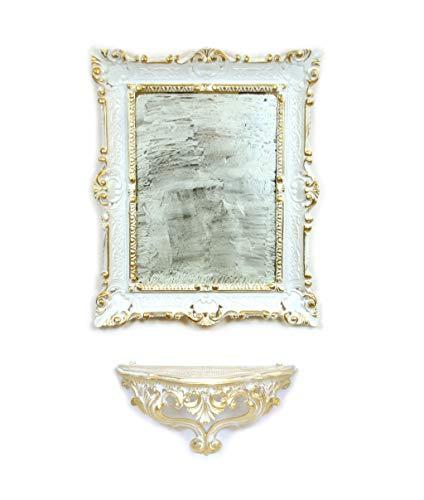 Ideacasa Set Consolle Mensola + Specchio Bianco Oro Stile Barocco Veneziano Finto Vintage