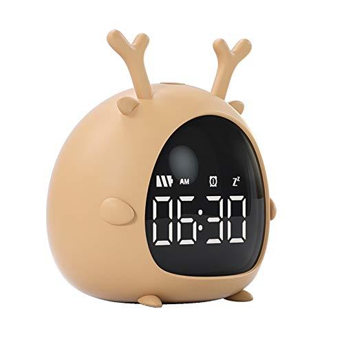 Inteligente Estudiante Despertador USB Recargar Control De Voz Cuenta Regresiva Escritorio Digital Reloj Led Mini Dibujos Animados Despertador Infantil ElectróNico,Deer