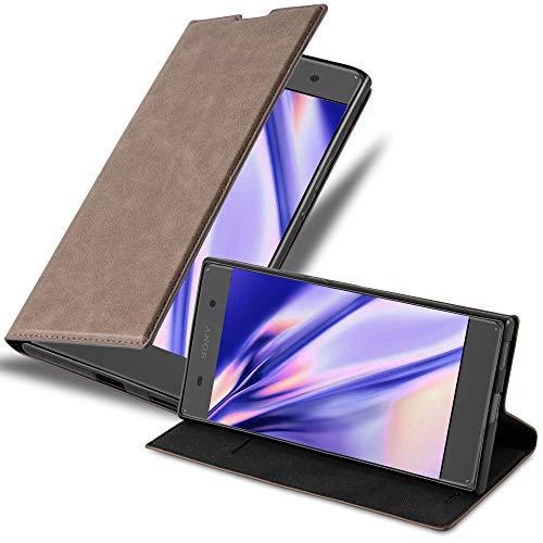 Cadorabo Hülle für Sony Xperia XA1 in Kaffee BRAUN - Handyhülle mit Magnetverschluss, Standfunktion & Kartenfach - Hülle Cover Schutzhülle Etui Tasche Book Klapp Style