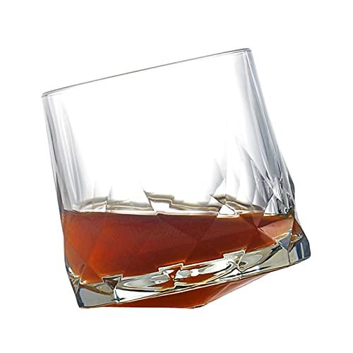Copa de vino creativa 300 ml creativo Whisky vaso de vidrio diamante prismático corte grueso pesado Rock Copa Spinning Copa de vino