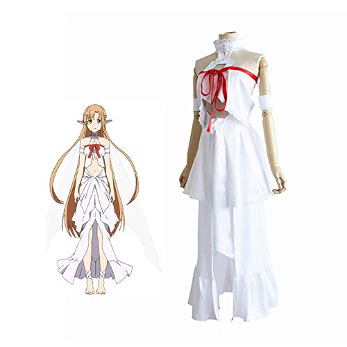 CGBF - Anime Espada Arte Online Yuuki Asuna Prisin Uniforme Halloween Juego Fiesta Cosplay Disfraz, Blanco, M