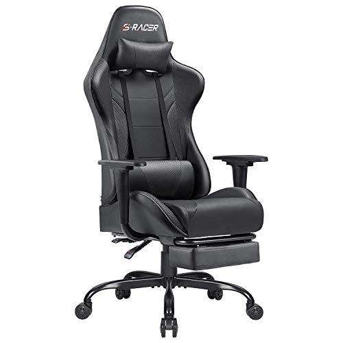 Homall Gaming Stuhl mit Fußstütze Schreibtischstuhl Bürostuhl mit Kopfstütze und Lendenkissen Ergonomischer Drehstuhl Höhenverstellbarer Computerstuhl (Schwarz)
