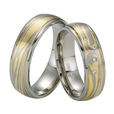 Trauringe / Eheringe / Gold / Weißgold / Gelbgold / Mokume Gane / Paarpreis