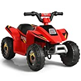 Costzon Ride on ATV, 6V Battery Powered Electric Quad, High/Low Speeds, Forward/ Reverse Switch, Rear Wheeler Motorized Ride On Mini Vehicle Car for Toddlers Boys Girls (Red)
