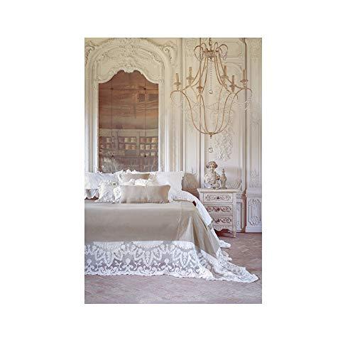 Blanc Mariclo Funda para cama de matrimonio 'Villa Madama' con encaje 170 x 250 cm a28824