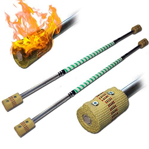 Pro Bâton de Feu Double Ensemble - 2X (120cm/2x65mm Meche) + Flames N Games Sac de Voyage! Staff de Feu AKA Fire Staff Inflammable Professionnel Bâtons Indien, Medium Flammes!