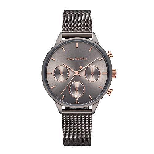 PAUL HEWITT Armbanduhr Damen Everpuls Grey Metallic Mesh- Damen Uhr in Grey Metallic mit einem abgestimmten Meshband aus Edelstahl und einem grauen Ziffernblatt