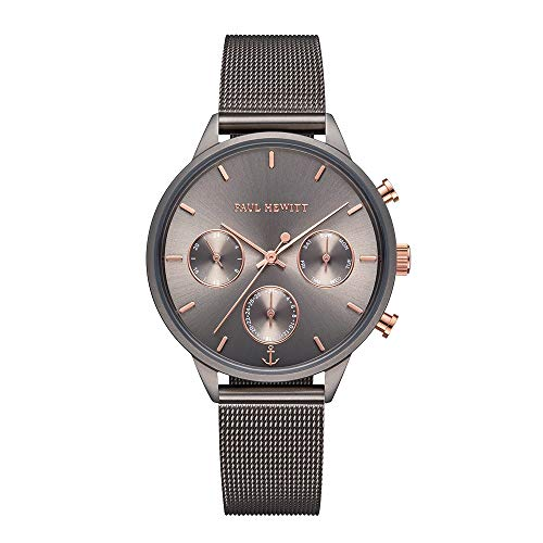 PAUL HEWITT Armbanduhr Damen Everpuls Grey Metallic Mesh- Damen Uhr in Grey Metallic mit einem abgestimmten Meshband aus Edelstahl und einem grauen Ziffernblatt