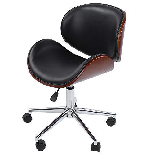 Sillas de oficina giratorias, respaldo de silla de oficina cromado de cuero artificial, silla giratoria de 360 grados