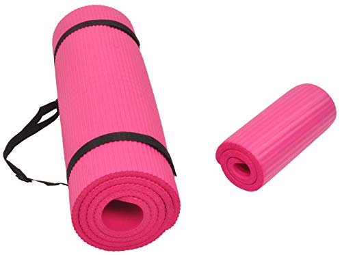BalanceFrom GoYoga+ All-Purpose 1/2-Inch Extra Thick High Density Anti-Tear Exercise Yoga Mat and Knee Pad with Carrying Strap (Pink)