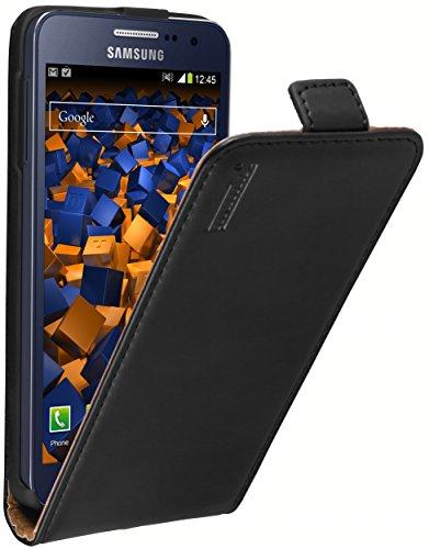 mumbi Echt Leder Flip Case kompatibel mit Samsung Galaxy A3 2015 Hülle Leder Tasche Case Wallet, schwarz