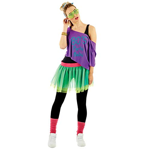 Womens 80s Purple & Green Neon Costume Adults Decades Party Tutu Outfit - One Size