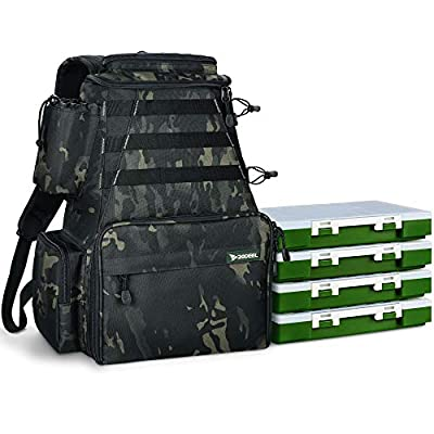 Rodeel Fishing Tackle Backpack 2 Fishing Rod Holders with 4 Tackle Boxes, Large Storage, Water Resistant & Weatherproof Backpack for Trout Fishing Outdoor Sports Camping Hiking