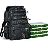 Rodeel Fishing Tackle Backpack 2 Fishing Rod Holders with 4 Tackle Boxes, Large Storage,Backpack for Trout Fishing Outdoor Sports Camping Hiking