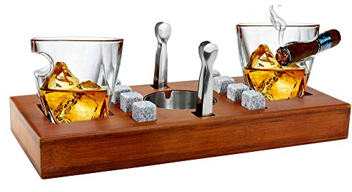 Bezrat Old Fashioned Cigar Whiskey Glasses With Mounted Cigar Rest Gift Set + Cigar Cutter, Ashtray, Chilling Stones and accessories on Wooden Tray – Cigarette Smoking Ash Tray Granite Rocks (Brown)