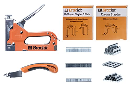Brackit 5-in-1 leistungsstarker Tacker inkl. 1.500 Klammern für Holz regulierbare Schusskraft manueller Holztacker mit Tackernägeln Tackerpistole Edelstahl U-Klammer-Nagel T-Nagel Rund-Nagel