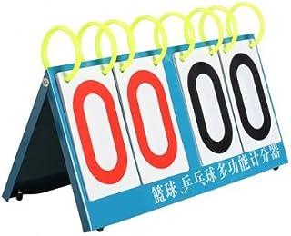 Tableau de Bord Retourner Portable Sport Comp/étition Score Compteur Tennis de Table Basketball Aigend Sport Tableau de Bord 4 Chiffres-Rouge + Bleu