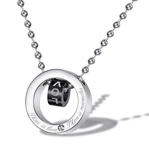 HLY Collar de temperamento simple, anillo doble personalizado, anillo doble, colgante de amor, collar de acero de titanio para hombre, cadena de suéter
