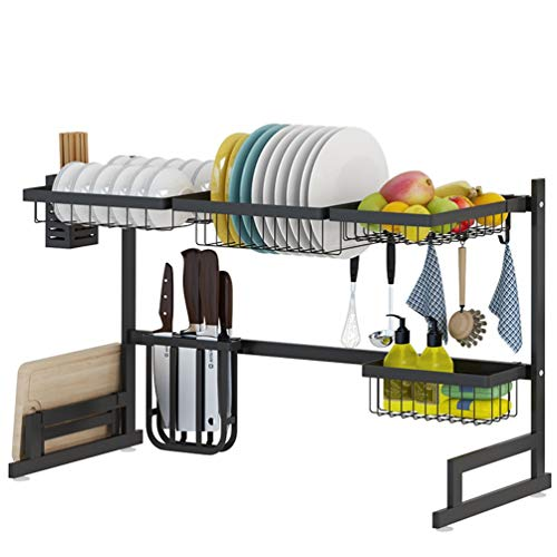 LBYMYB Estante de cocina de acero inoxidable para fregadero, escurridor, color negro, estante de almacenamiento de cocina, estante de almacenamiento de cocina (tamaño: 85 x 32 x 52 cm)