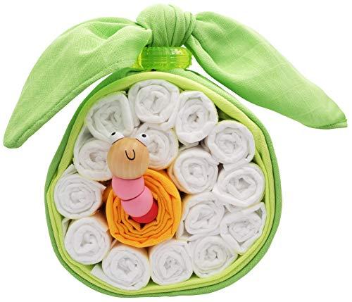 Windeltorte Apfel mit Greifwurm aus Holz perfekt als Windelgeschenk für die Babyparty als Geschenk zur Geburt oder Taufe für Mädchen Geschenkfertig in Folie verpackt