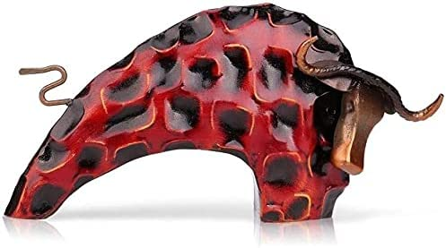 Jabetc Statues Max 87% OFF for Home Decor 2021 new Metal Creative Bull Sculptures Red