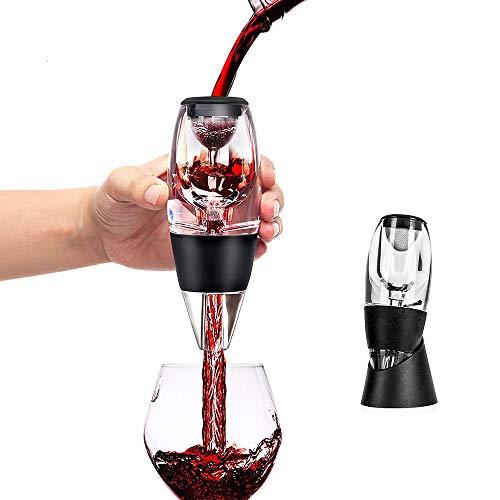 Aireador de vino, vertedor y decantador con filtro, filtro de aireación de aire para vino tinto y blanco, incluye base de sabores mejorados con acabado más suave.