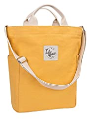 PERFECT CANVAS TOTE WITH ZIPPER: Made by 16oz cotton canvas, super sturdy, soft and water-washable. Have a zipper across the top and the bottom is reinforced. Can be the essential everyday tote. VERSATILE DUCK BAG: Can use it as a top-handle bag, or ...
