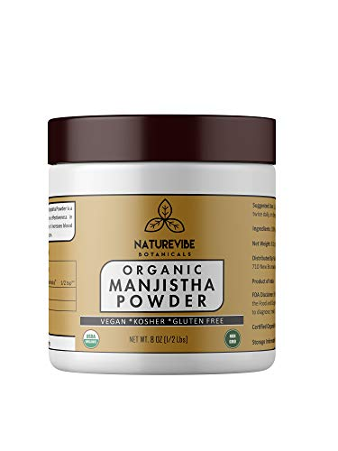 Naturevibe Botanicals Organic Manjistha Powder (8 Oz) - USDA Organic Rubia Cordifolia - Promotes Healthy and Clear Skin | Supports Immune System .[Packaging May Vary]