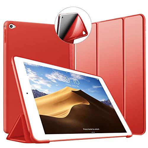 VAGHVEO Funda iPad Air 2, Ligera Silicona Soporte Smart Cover [Auto-Sueño/Estela], Cubierta Trasera de TPU Suave Cáscara para Apple 9.7 Pulgadas iPad Air 2 (Modelo: A1566, A1567), Rojo