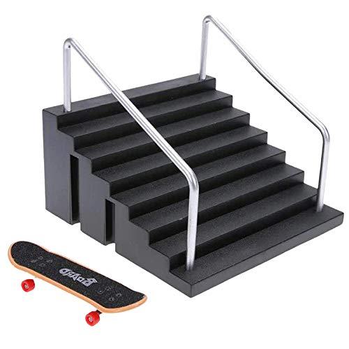 Nrpfell Juego de Accesorios para Escena de Lugar de Patineta para Dedos Juego de Patinetas y Escaleras para Dedos Escaleras con Dos Pasamanos para Patinetas