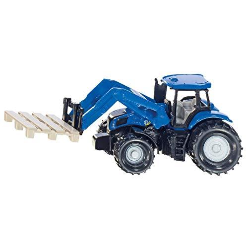 SIKU 1487, Traktor mit Palettengabel, Metall/Kunststoff, Blau, Inkl. Palette, Beweglicher Frontlader