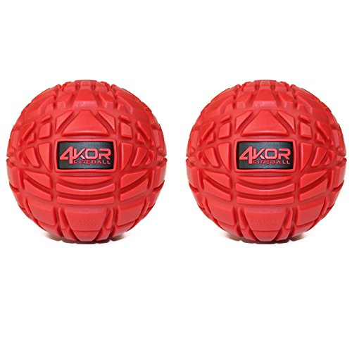 4KOR Fitness Massage Balls for Deep Tissue Muscle Recovery, Perfect for Myofascial Release and Trigger Point Therapy (3.2 inch Firm 4KOR Fireballs (2pack, Red))