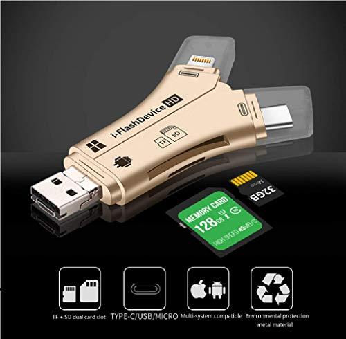 FODFKL Kartenleser Y Typ TF/SD/Typ-C Android Apple Lightning Mobiltelefon Multifunktion OTG Kartenleser Speicher Speicher Mini-Computer Universal (schwarz)