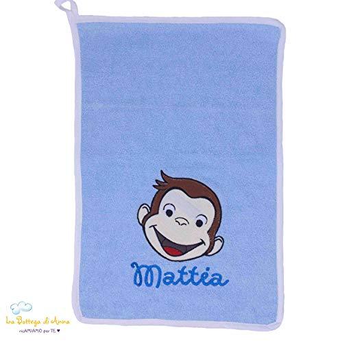 Handdoek van badstof, lichtblauw met borduurwerk aap Geroge personaliseerbaar met naam 50 x 70 cm Lichtblauw.