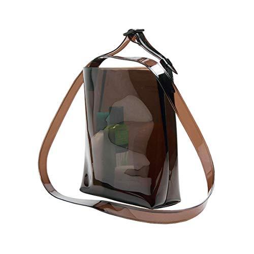 Transparente Handtasche für Damen, Strandtasche, durchsichtig, PVC-Kunststoff, A5, Diamantschwarz / Milchweiß