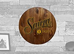 THE THEME: Directly printed on Round Wood Wall Art Sauza Tequila Bar Sign Home Décor Classic Walnut 14 inch wall decor THE WOOD: Large 1 inch X 14 inch Solid Pine Wood Round with custom printed wall art. Fully Stained on all sides in a stylish Barnwo...