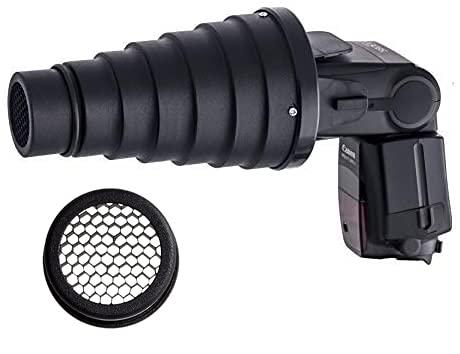 Snoot cónico de Metal con Rejilla en Forma de Panal para Flash Speedlite | Incluye Faja de Panal extraíble | para la dirección de iluminación y prevención de Destello de Lente
