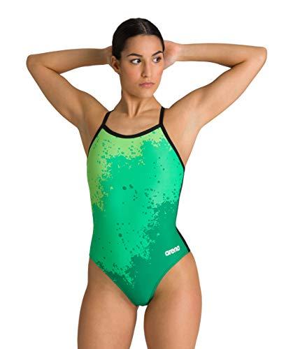 ARENA Bañador Deportivo para Mujer Spraypaint, Mujer, Traje de baño de una Sola Pieza, 002244, Verde/Negro, 42
