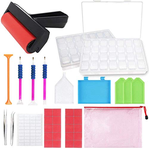 Outuxed 43pcs 5D Diamond Painting Tools Accessories Kits with 2 Packs Diamond Painting Boxes and Roller for Art Crafts