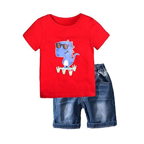 Loalirando Completo Bambino Estive Camicia Cime T-Shirt a Maniche Corte e Pantaloncini Set Coordinato 2...