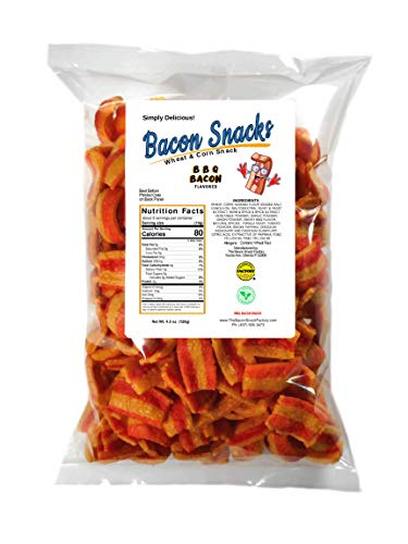 The Bacon Snack Factory - BBQ Bacon Flavor | Keto Friendly Low Carb per portion, Vegan Snacks, Vegetarian, Light & Crispy, 4.5oz