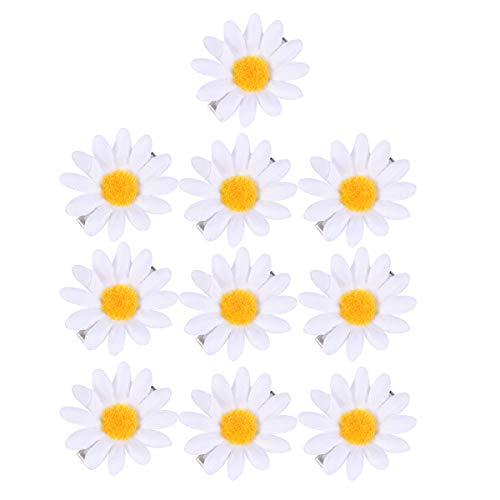 Beaupretty 10 STÜCKE Nette gänseblümchen haarspangen Sonnenblume frische haarspangen haarnadeln für mädchen (weiß)