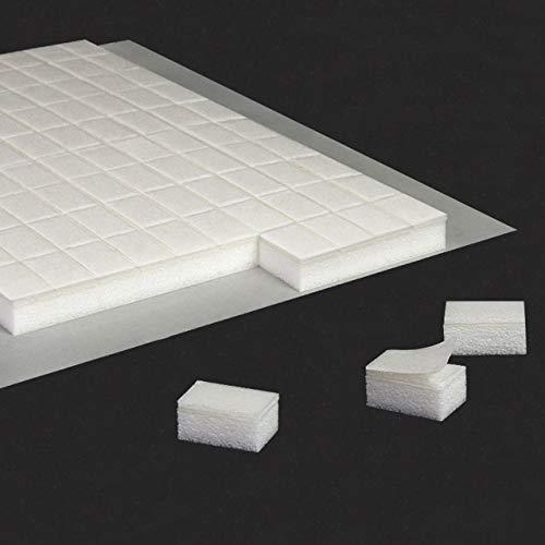 3D Klebepads | Aus Schaumstoff | Beidseitig stark klebend | Formstabil | Für Bastelarbeiten mit 3D-Effekt | 6 x 10 mm / 5 mm Dicke, 100 Stück