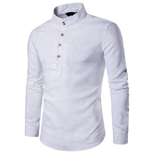 Zarupeng Herren Langarm Shirt, Einfarbig Slim Fit Poloshirt, T-Shirts aus Leinen und Baumwoll, Stehkragen Hemd Oberteile Pullover (XL, Weiß)