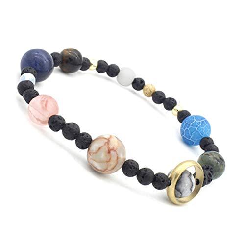 AIUIN Natural Stones Armband, Energy Bracelet 7 Chakra für Frauen und Männer Cosmic Galaxy Bracelet Sonnensystem Eight Planet Jewelry Wrist Decoration Gift