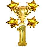 Globos del Partido Premio de Oro Campeón Sport Stars Números del partido de fútbol de los muchachos Globos fans adultos decoraciones Cumpleaños Modalidades de eventos decoración ( Color : Number 1 )