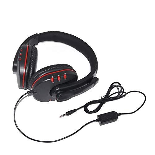 CamKpell Auriculares con Cable para Juegos 40 mm Driver Bass Stereo con micrófono Jack de 3.5 mm Auriculares Aislamiento de Ruido para PC Xbox-One Mic - Negro