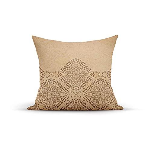Funda de almohada decorativa, diseño continuo de motivos orientales sobre fondo Grungy, fundas de almohada para interiores al aire libre, fundas de cojín para sofá de casa, 45,7 x 45,7 cm