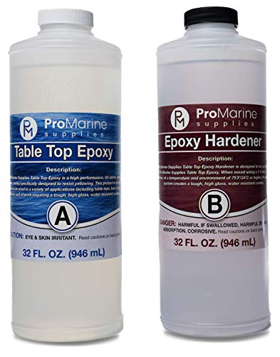 Clear Table Top Epoxy Resin Coating for Wood Tabletop - 2 Quart Kit