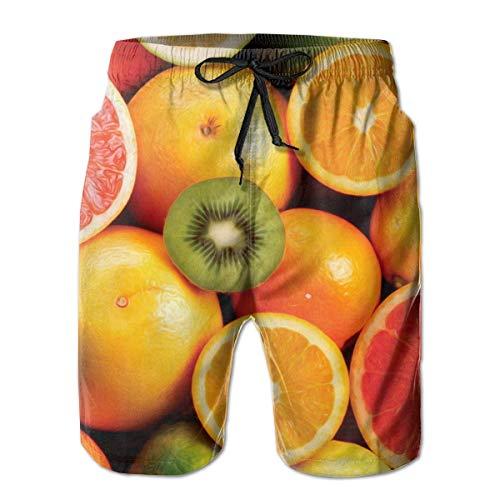 Heren Sneldrogende Zwembroek Shorts Strandkleding - Citroen Oranje Kiwi Fruit